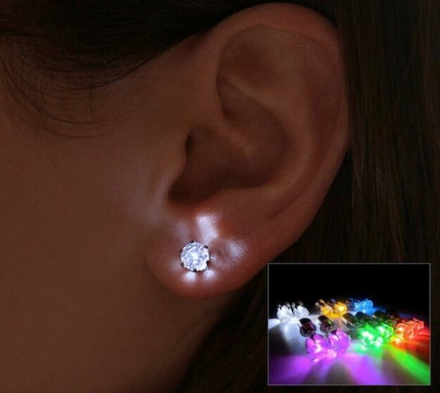 bfe947410b3a8 A pair of Led Light-up Earrings Ear Studs : Electronics