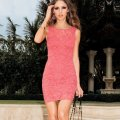 2014 Hot Summer Fashion European Style Women Sexy Sheath Knee Length Tank Sleeveless Pink Lace Party Dresses Club Dress